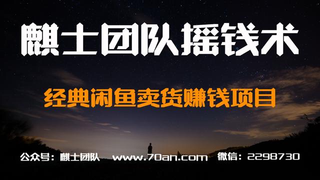 麒士团队摇钱术06:经典闲鱼卖货赚钱项目【视频课程】