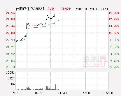 伟明环保股票行情,快讯:伟明环保涨停 报于24.52元