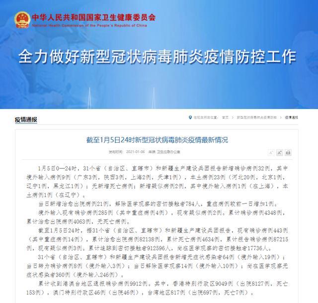 31省(自治州、市辖区)和新疆兵团汇报增加诊断病案32例