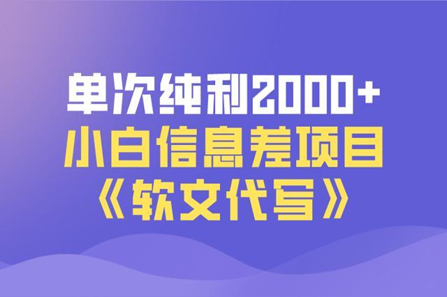 佐道超车暴富系列课12:单次纯利2000+,小白信息差项目-软文代写