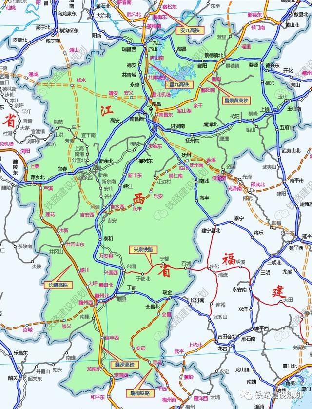 江西省2021年铁路线重点项目建设平面图