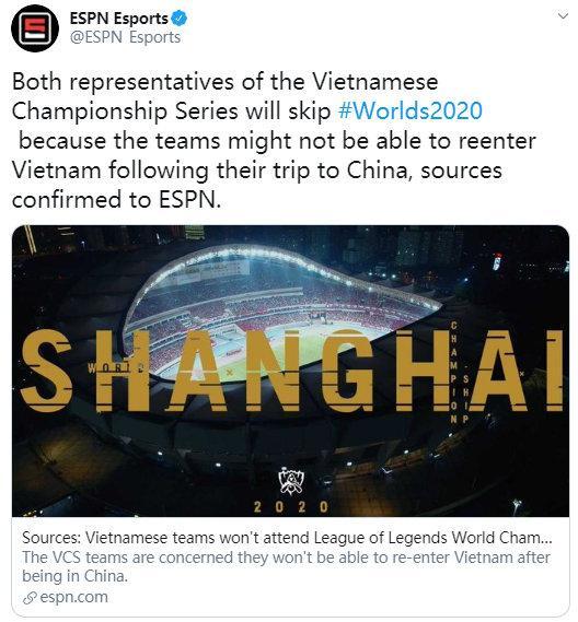 网友炸了!越南队无法参加S10世界赛,将空出两个名额www.smxdc.net