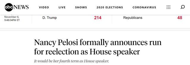 快讯!美媒:美众议院议长佩洛西正式宣布竞选连任