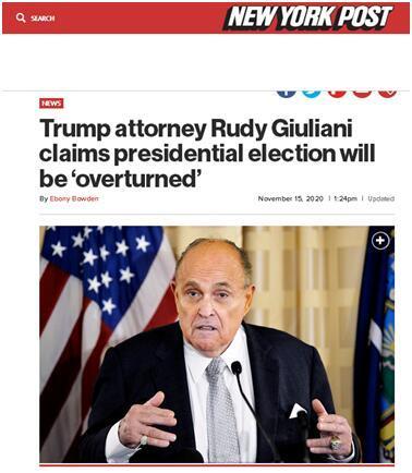 """特朗普律师:大选结果将被""""推翻"""",我们有证据……"""