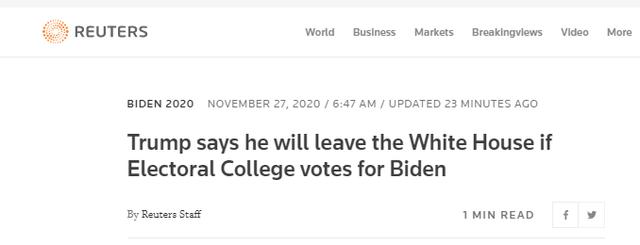 快讯!外媒:特朗普称如果选举人团投票给拜登,他将离开白宫 全球新闻风头榜 第2张
