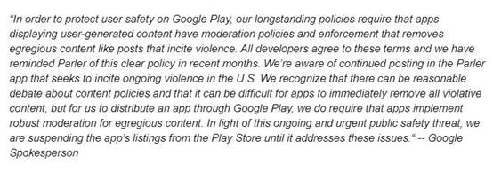 突发!谷歌宣布下架特朗普支持者所聚集社交平台Parler 全球新闻风头榜 第3张
