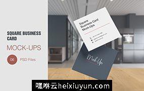 逼真企业商用方形名片样机模板Square Business Card Mockup  #3562465