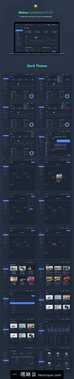 嘿咻云-非常不错的2套Web网页后台管理界面UI工具包 Alaina Dashboard UI Kit