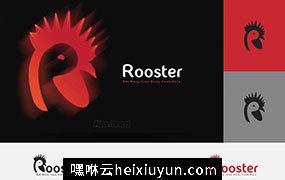 公鸡形状标志logo设计模板 Rooster-Logo-(50-OFF)