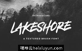 大气的笔刷效果的字体 Lakeshore Brush Font #1405515