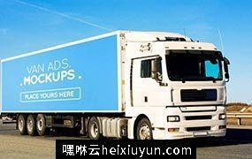 厢式货车广告展示模型 Van Signage Mockup