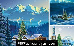圣诞节场景矢量元素 Christmas Scene