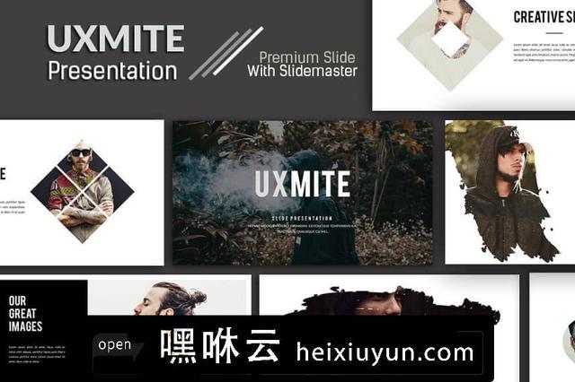 嘿咻云-高端时尚的极简主义幻灯片Uxmite Creative Powerpoint #2292831