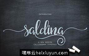 流畅的手绘字体 Saldina Script #484656