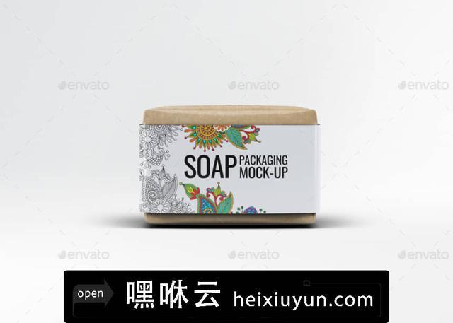 嘿咻云-香皂肥皂包装贴纸展示样机 Soap Bar Paper Sleeve Mock-Up
