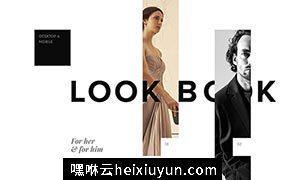 时尚潮流艺术模特服装服饰展示web端移动端PSD网页模板LookBook Template SQUARE