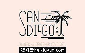海滨趣味字体 San Diego  Beach Font Set #1664481