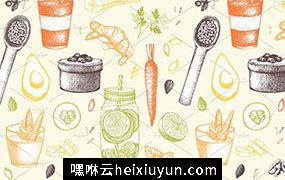 复古手绘蔬菜和水果插画素材 Vegetarian-food-sketch-BONUS #470010