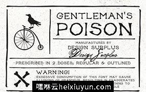 85怀旧衬线字体设计 Gentleman's Poison Font  #48662
