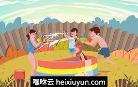 夏天家人和孩子玩耍矢量插图Summer Kids Playing With Waterguns Vector