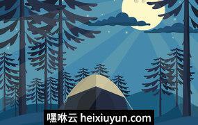 户外露营自然景观矢量插图Night_Camp_Vector#62912