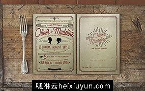 复古风格菜单菜谱模板素材  Vintage-Hand-Lettering-Wedding-Suite #297877