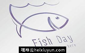 创意手绘钓鱼鱼形状Logo模板 Fish-Day #66106