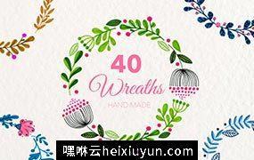 40+手绘花环PNG免扣素材合集包 Floral Wreaths