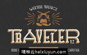 复古个性设计字体 Traveler Font. Huge update #307929