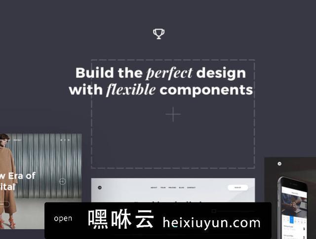 嘿咻云-现代时尚艺术设计工作室社交媒体电子商务web UI工具包Phoenix Startup UI Kit Pro