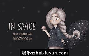 可爱机灵的女孩插画素材 Cute girl illustration