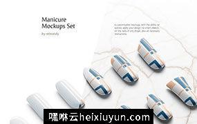美甲师指甲图案设计展示样机PSD模板素材 Manicure Mockups Set