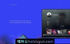 一套黑色炫酷的音乐网站移动APP界面设计XD模板 MusicBox 70+ Screens