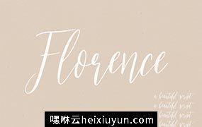 漂亮的手绘英文字体 Florence  A Beautiful Script #1247342