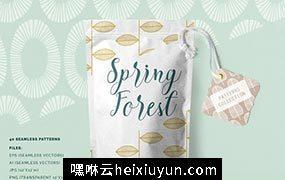 春天森林无缝背景纹理素材 Spring Forest Seamless #79330
