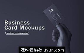 手握名片样机贴图 Business Card Mockups