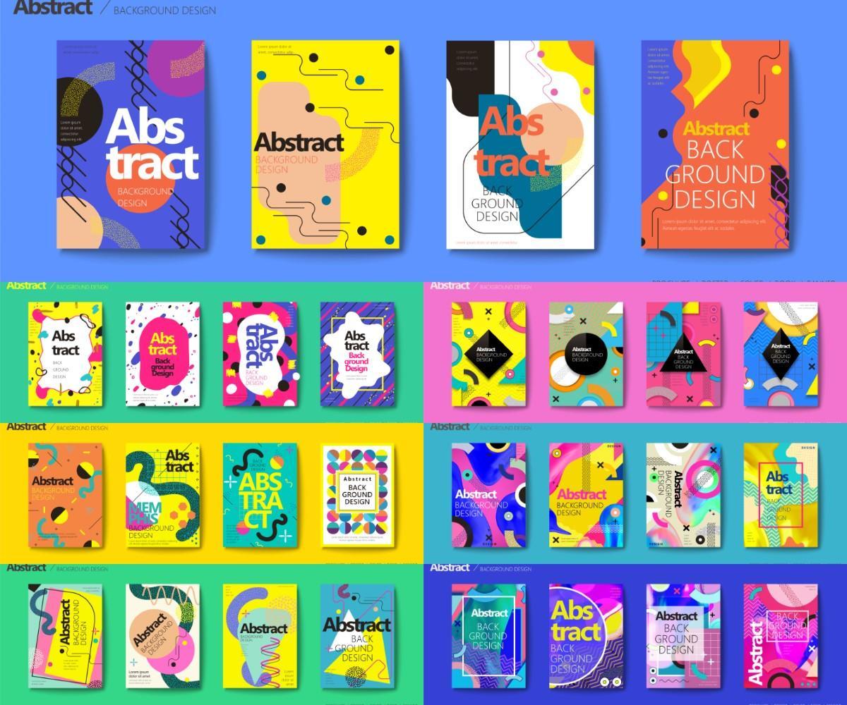 矢量图形-112款抽象视觉几何创意平面广告海报背景AI矢量素材(7)